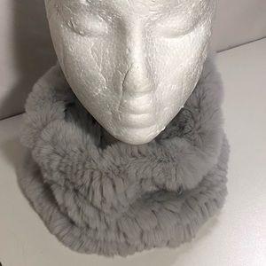 Jocelyn Genuine Rabbit Knit Infinity Neck Scarf